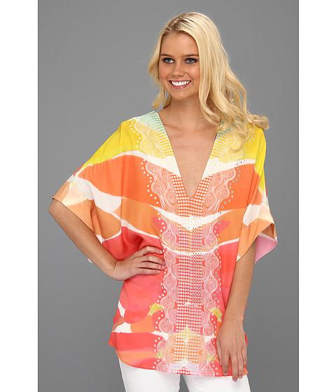 Bluze Catherine Malandrino - Kaftan V-Neck Blouse w/ Front Embroidery - Butterfly Print