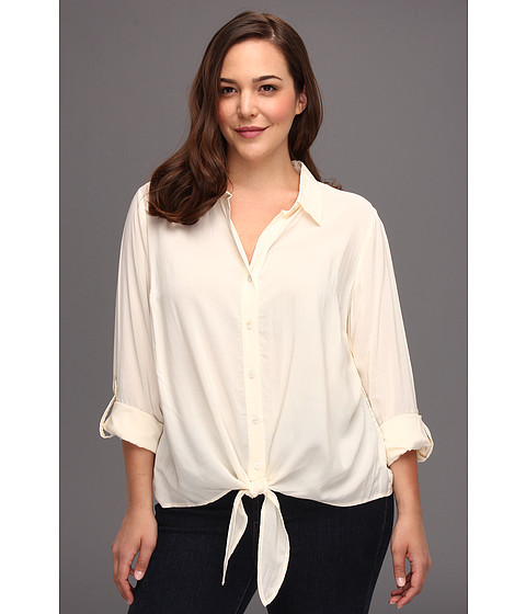 Bluze Vince Camuto - Plus Size Button Front Shirt W/Lace Back - Antique White