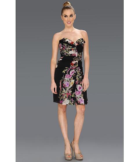 Rochii Badgley Mischka - Floral Strapless Ruffle Front Dress - Black
