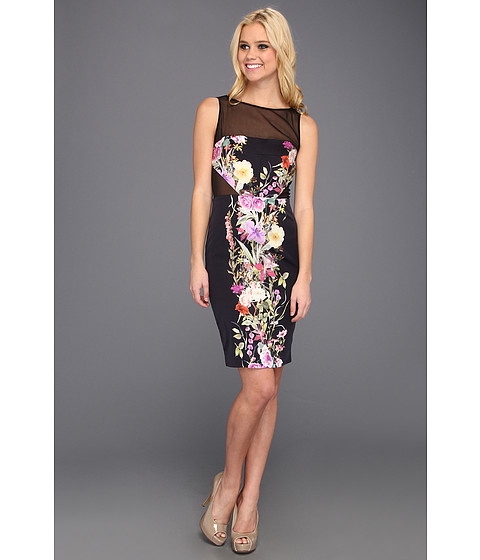Rochii Badgley Mischka - Silk Print Sheath Dress - Black Multi