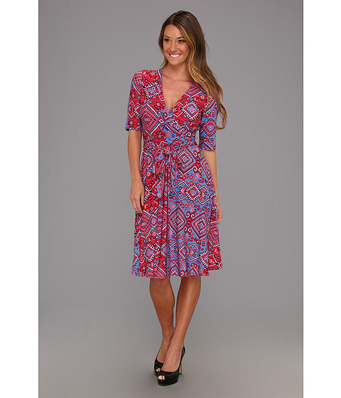 Rochii Donna Morgan - Elbow Sleeve Mock Wrap Dress - Raspberry/Blue Multi