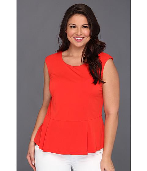 Tricouri Calvin Klein - Plus Size Solid Peplum Top - Tango Red
