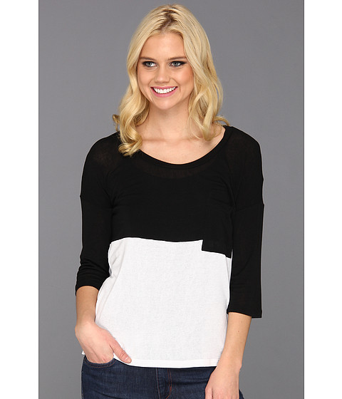 Bluze Splendid - Drapey Lux Jersey Colorblocked Top - Black/White