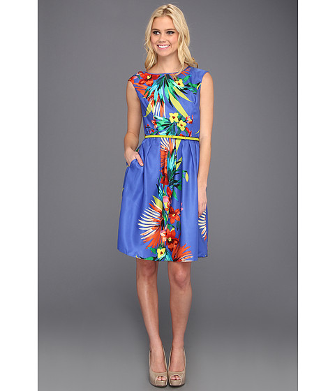 Rochii Ellen Tracy - Cap Sleeved Printed Floral With Belt - Blue Multi