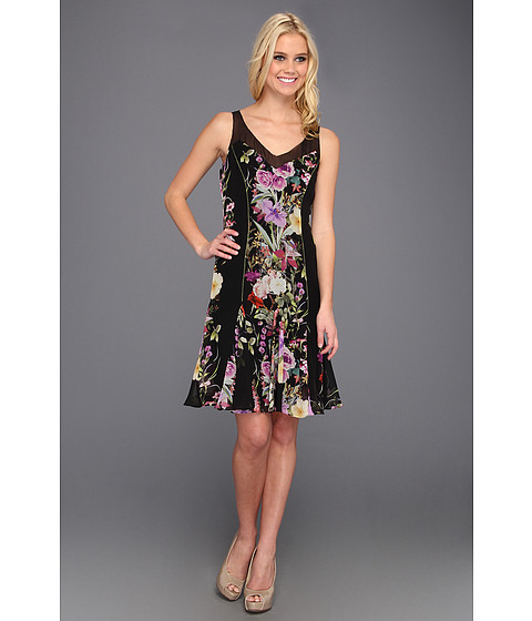 Rochii Badgley Mischka - Floral Fit N Flare Silk Dress - Black