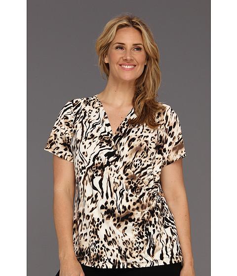 Tricouri Calvin Klein - Plus Size Spotted Zebra Print V-Neck w/ Hardware - Black/Soft White Multi