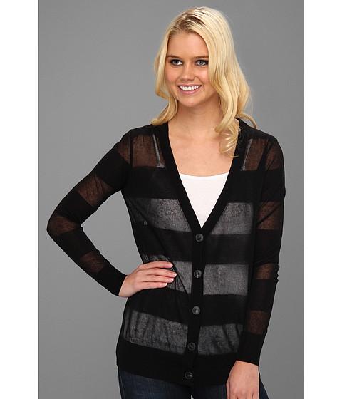 Bluze Halston Heritage - Long Sleeve Deep V Striped Button Down Cardigan - Black
