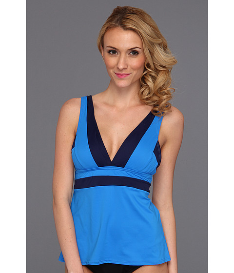 Costume de baie DKNY - Color Block V-Neck Tankini w/ Removable Soft Cups - Electric Blue