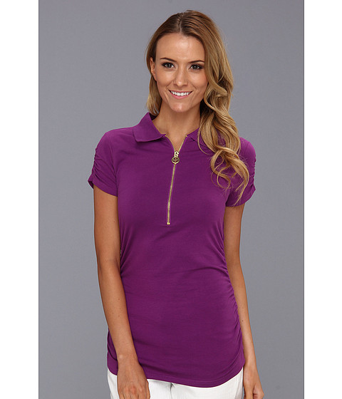 Tricouri Michael Kors - Short Sleeve Zip Ruched Polo - Pomegranate