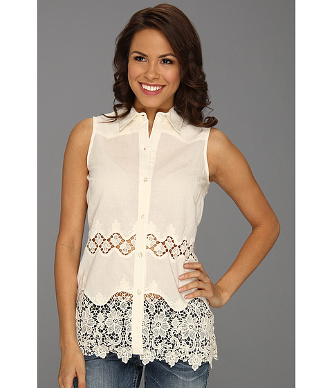 Bluze Roper - 8682 Lace Edged Sleeveless Shirt - White