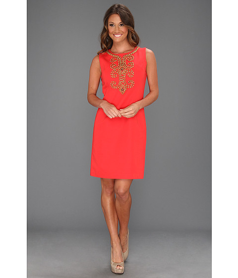 Rochii Ellen Tracy - Sleeveless Bengalline With Embellishment - Hot Coral