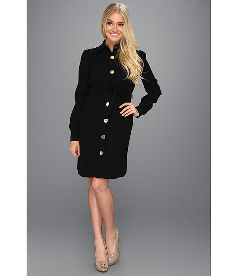 Rochii Nine West - Crepe Belted Dress w/ Gold Button - Black