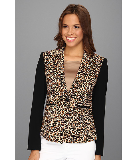Jachete Nine West - Crepe One-Button Animal Print Jacket - Leopard/Black