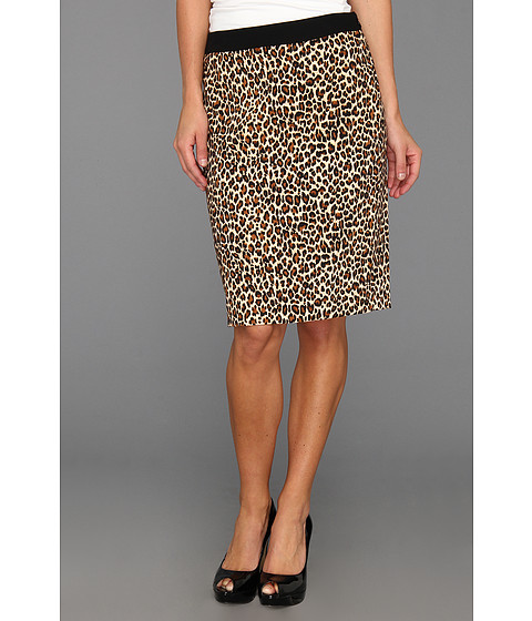 Fuste Nine West - Crepe Animal Print Slim Skirt - Leopard/Black