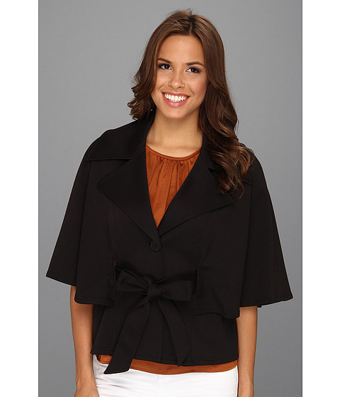 Geci Nine West - Solid Two-Button Belted Capelet - Black