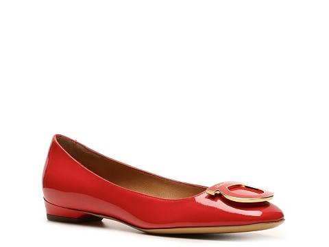 Balerini Salvatore Ferragamo - Patent Leather Logo Flat - Red