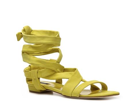 Sandale Bally - Gisa Suede Ankle Wrap Sandal - Neon Yellow