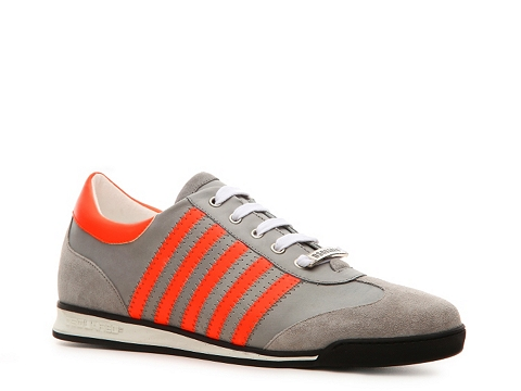Pantofi DSQUARED2 - Leather & Suede Neon Sneaker - Grey/Orange