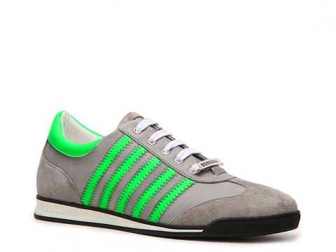 Pantofi DSQUARED2 - Leather & Suede Neon Sneaker - Grey/Green