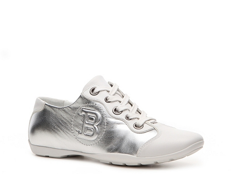 Adidasi Bally - Kayak Metallic Leather Logo Sneaker - Silver/White