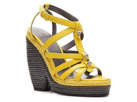 Sandale Balenciaga - Leather Wedge Sandal - Yellow