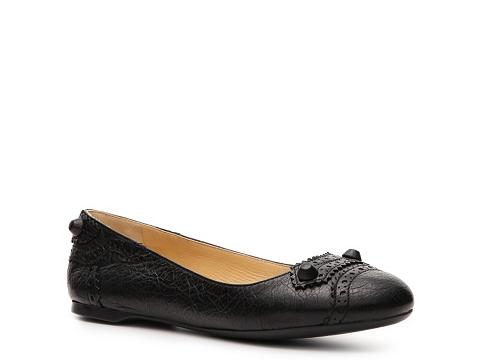 Balerini Balenciaga - Textured Leather Studded Flat - Black