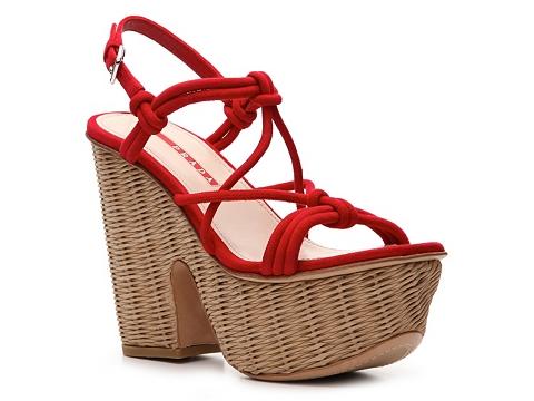 Sandale Prada - Suede Wedge Sandal - Red
