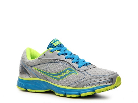Adidasi Saucony - Grid Outduel Lightweight Running Shoe - Womens - Grey/Teal Blue/Neon Yellow