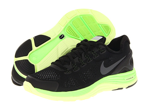 Adidasi Nike - Lunarglide+ 4 Shield - Black/Reflective Dark Grey/Electric Green/Liquid Lime