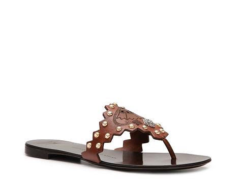 Sandale Giuseppe Zanotti - Leather Studded Flat Sandal - Camel