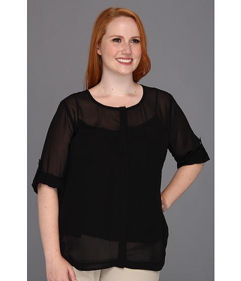 Bluze DKNY - Plus Size L/S Roll Tab Button Thru Blouse - Black