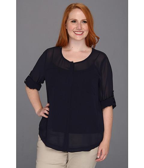 Bluze DKNY - Plus Size L/S Roll Tab Button Thru Blouse - Rich Navy