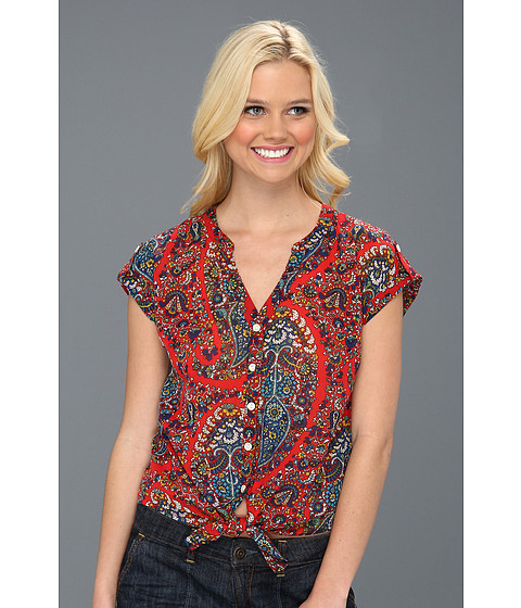 Bluze Lucky Brand - Paisley Cameron Tie-Front S/S Top - Tomato Spice Multi