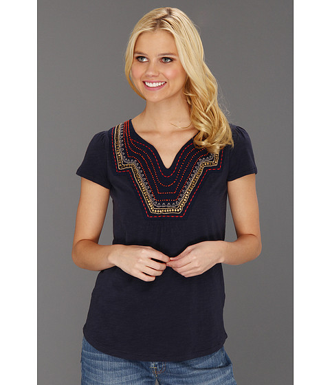 Bluze Lucky Brand - Veronica Embellished Top - American Navy