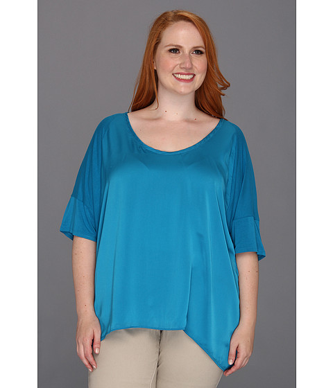 Bluze DKNY - Plus Size Elbow Sleeve Drop Shoulder Top w/ Lightweight Satin Front - Deep Pool