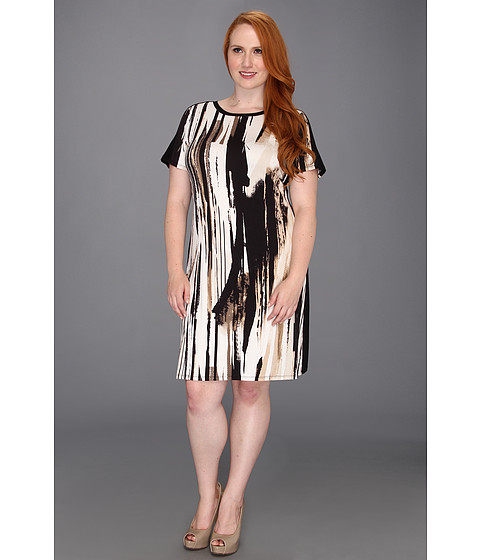 Rochii Calvin Klein - Plus Size Masterpiece T-Shirt Dress - Latte/Eggshell Multi