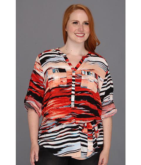 Tricouri Calvin Klein - Plus Size Sunset Stripe Print Tunic - Tango/Capri Multi