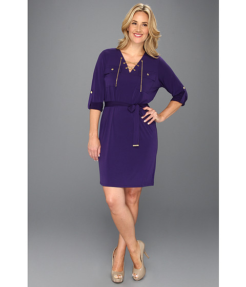 Rochii Michael Kors - Plus Size MJ Chain Lace Up Dress - Iris