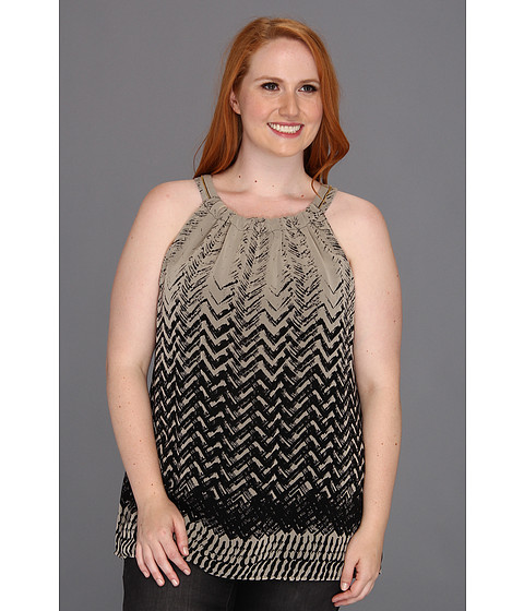Tricouri Calvin Klein - Plus Size Brushed Chevron Halter - Black/Latte Combo