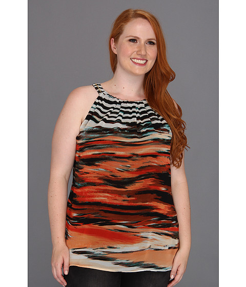 Tricouri Calvin Klein - Plus Size Sunset Stripe Halter - Tango/Capri Multi
