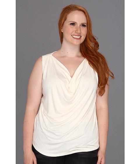 Bluze Karen Kane - Plus Size Pleated Yoke Sleeveless Top - Cream