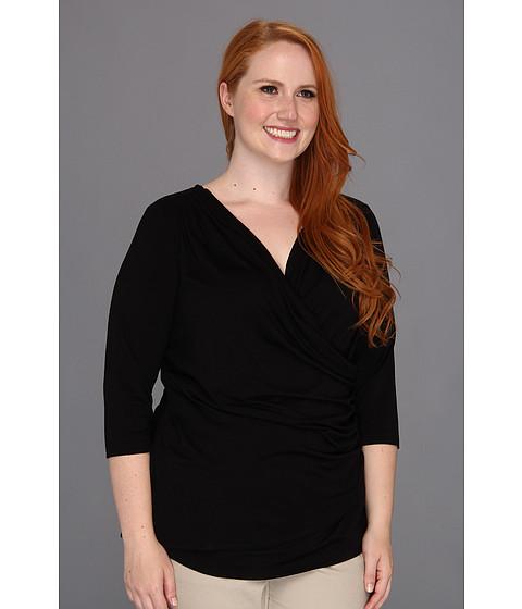 Bluze Karen Kane - Plus Size S/S Wrap Top - Black