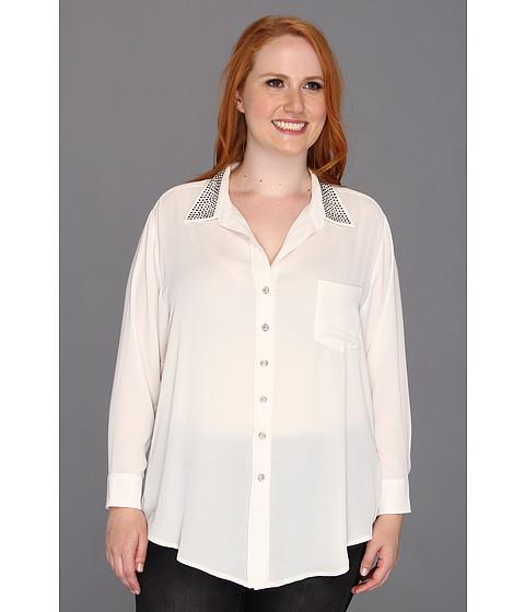 Bluze Karen Kane - Plus Size Studded Silverlake Shirt - Cream