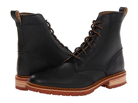 Ghete Frye - James Lug Wingtip Boot - Black Scotch Grain
