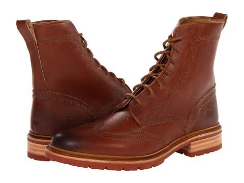 Ghete Frye - James Lug Wingtip Boot - Cognac Scotch Grain