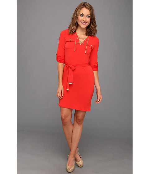 Rochii Michael Kors - Petite Matte Jersey Chain Lace Up Dress - Cherry