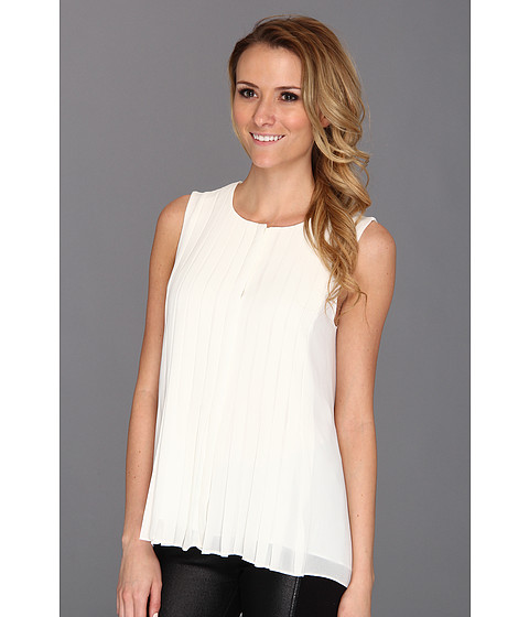 Tricouri DKNY - Sleeveless Button Thru Pleat - Ivory