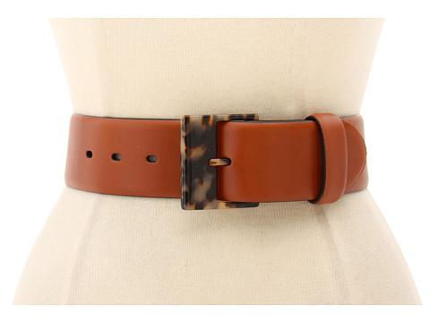 Curele LAUREN Ralph Lauren - Leather Belt with Square Tortoise Endbar Buckle - Lauren Tan