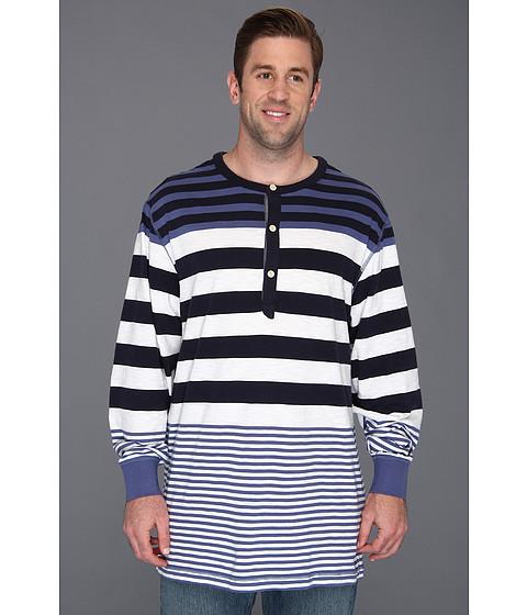 Bluze Nautica - Big & Tall L/S Striped Henley - Union Blue