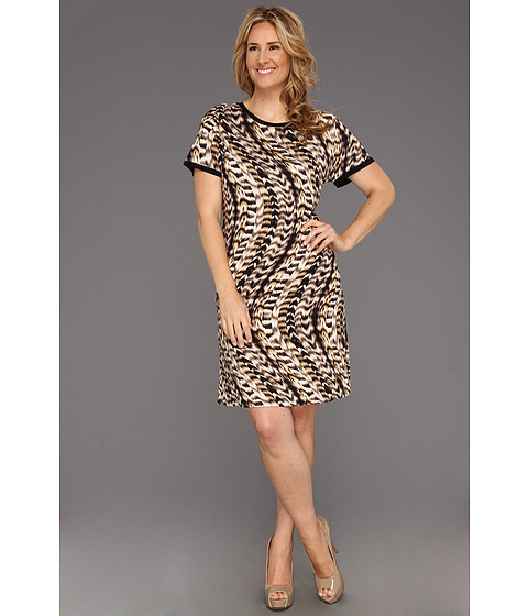 Rochii Calvin Klein - Plus Size Curved Animal Print T-Shirt Dress - Latte Multi 2
